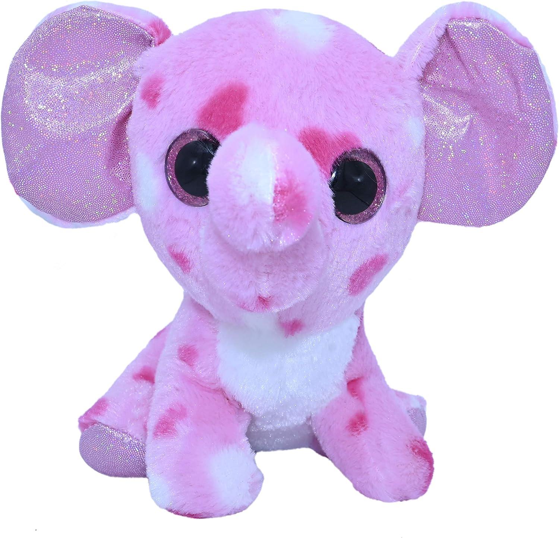 ML Peluche Elefante para Bebe Color Rosa con Ojos Brillantes, tu Nueva Mascota para Adoptar, cuidar y amar de los Animales de Peluches 15cm (Elefante Rosa)