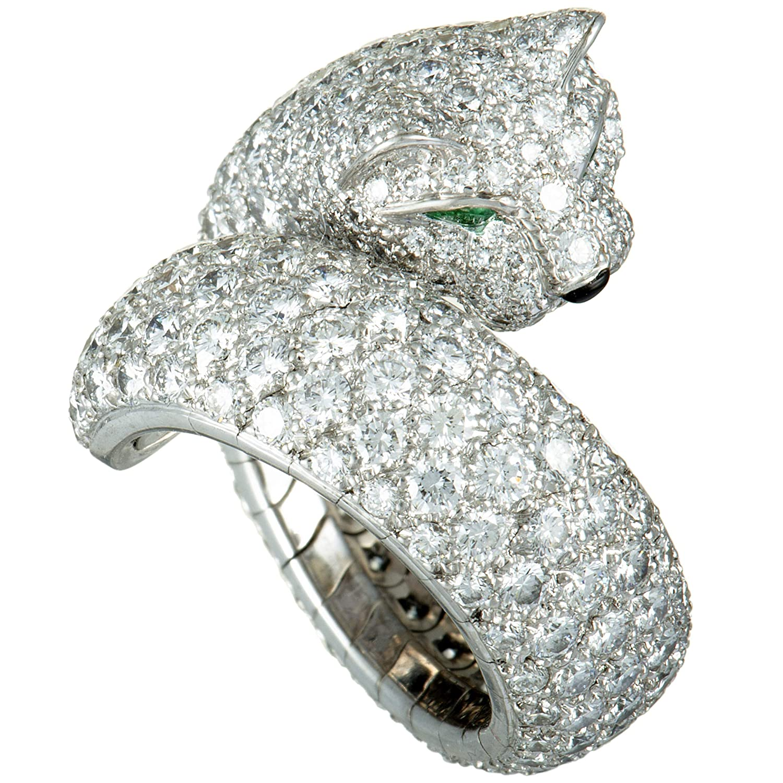 83427ac135795 Amazon.com: CARTIER Panthere 18K White Gold Diamond Pave Onyx ...