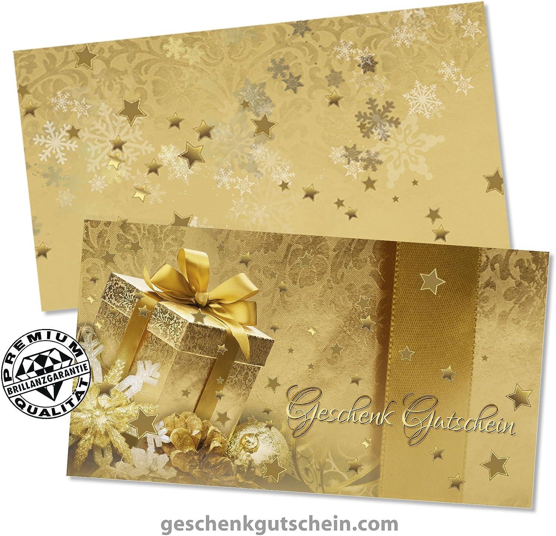 10 Gutscheinkarten X1297 10 Kuverts 10 Schleifen Geschenkgutscheine f/ür Weihnachten x-max Weihnachtsfest Weihnachtsmotiv f/ür Unternehmen