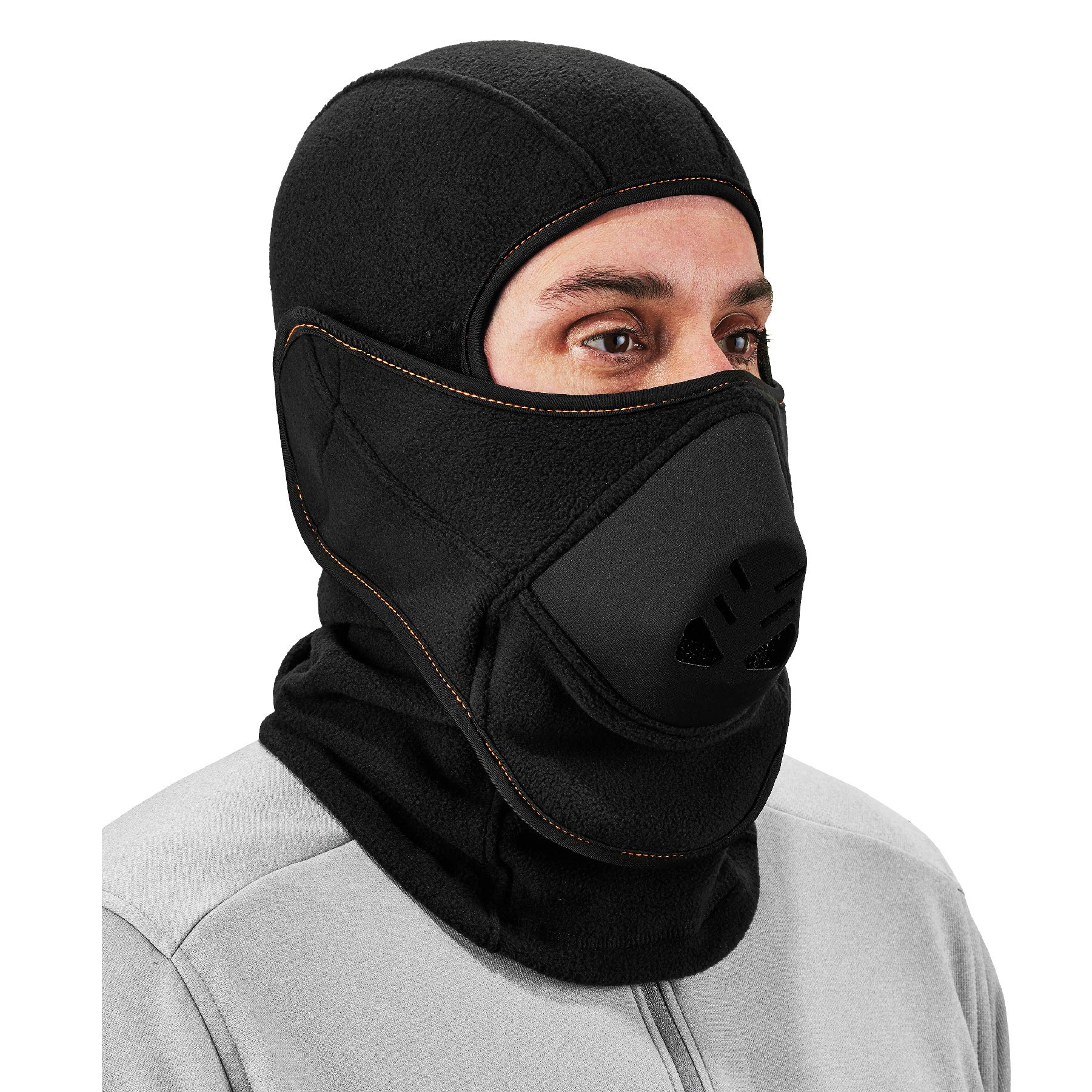 Balaclava with Detachable Heat Exchanger Face Mask, Winter Ski Mask, Ergodyne N-Ferno 6970,Black