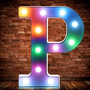 Colorful LED Alphabet Light Up Letter Number Symbol Lights with Wireless Remote Control Switch Decorative Heart Shaped Lamp for Wedding Valentine's Day Birthday Christmas Family Bar Decor (Letter P)