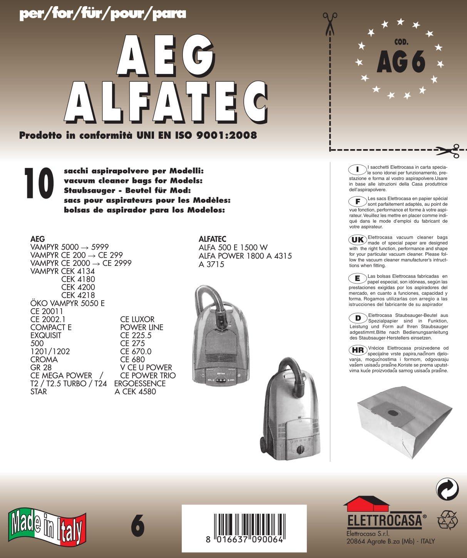 AG 6 bolsas de papel para aspiradora Lote de 10 bolsas de papel ...