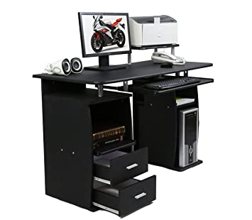 CherryTree Furniture Computer Desk With Cupboard Drawers And Keyboard Tray  Desktop PC Table Workstation (Black