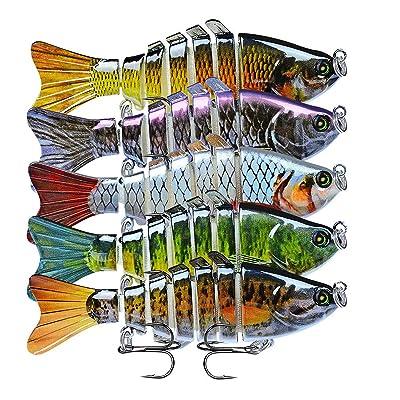 5PCS 7 Segment Multi Jointed Fishing Lures Fishing Bait Crankbait Hooks Swimbait