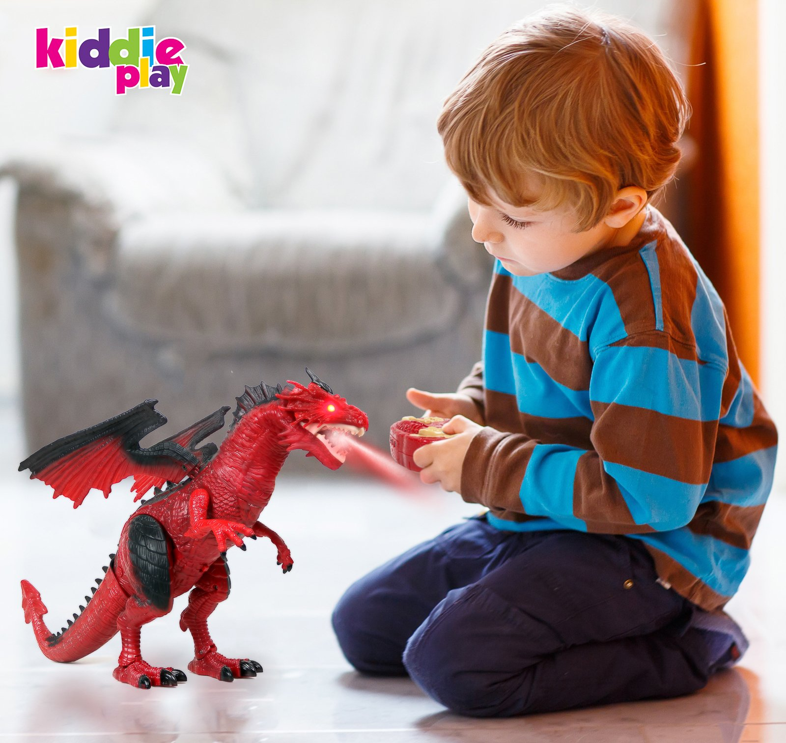 Kiddie Play Remote Control Dinosaur Toy Smoke Breathing and Walking Dragon with Lights and Sounds        by Kiddie Play (Image #3)