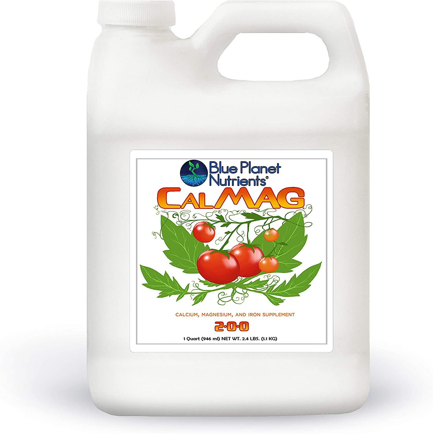 Blue Planet Nutrients CalMag with Iron Liquid Supplement Quart (32 oz) | Cal Mag for All Plants & Gardens | Grow Vegetables Herbs Fruits Flowers Buds | Prevents & Corrects Blossom End Rot