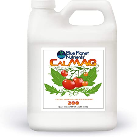CalMag + Iron Liquid Plant Supplement Quart (32 oz) Blue Planet Nutrients | Calcium Magnesium Iron for All Plants & Gardens | Prevents & Corrects Blossom End Rot | Vegetables Fruits Flowers Herbs