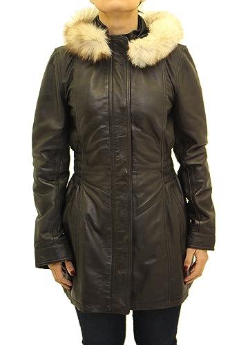Las se–oras de cuero real con capucha Casual chaqueta entallada Estilo