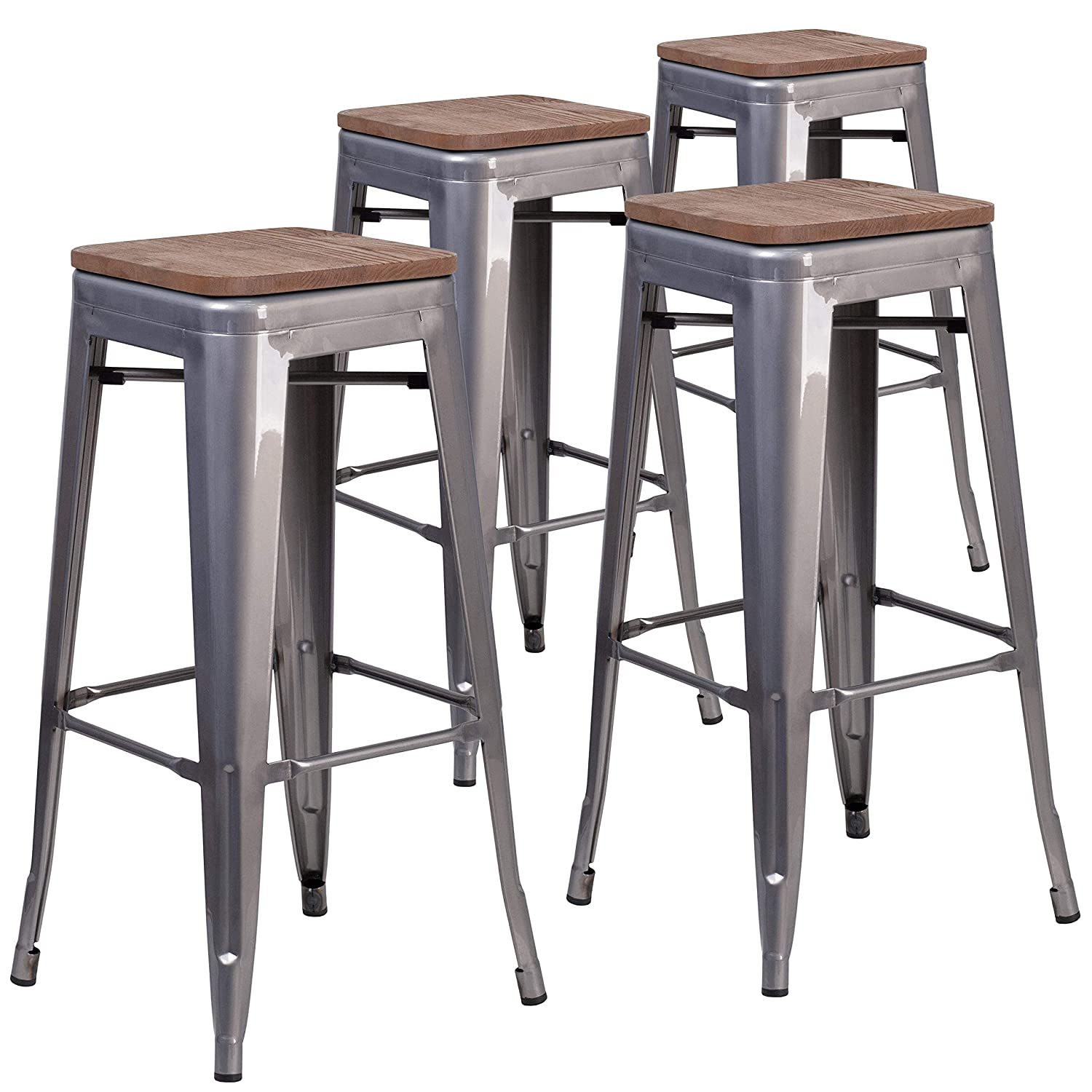 Amazon com flash furniture 4 pk 30 high backless clear coated metal barstool with square wood seat kitchen dining
