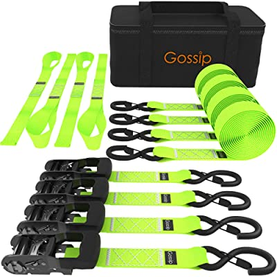"GOSSIP Heavy Duty Ratchet Strap – 1.5"" x 8 ft – (4PK Green) Premium Tie Down Straps & Soft Loops for Moving & Securing Cargo – Vinyl Coated Deep S-Hook & Extra Safety With Lockable Release: Automotive"