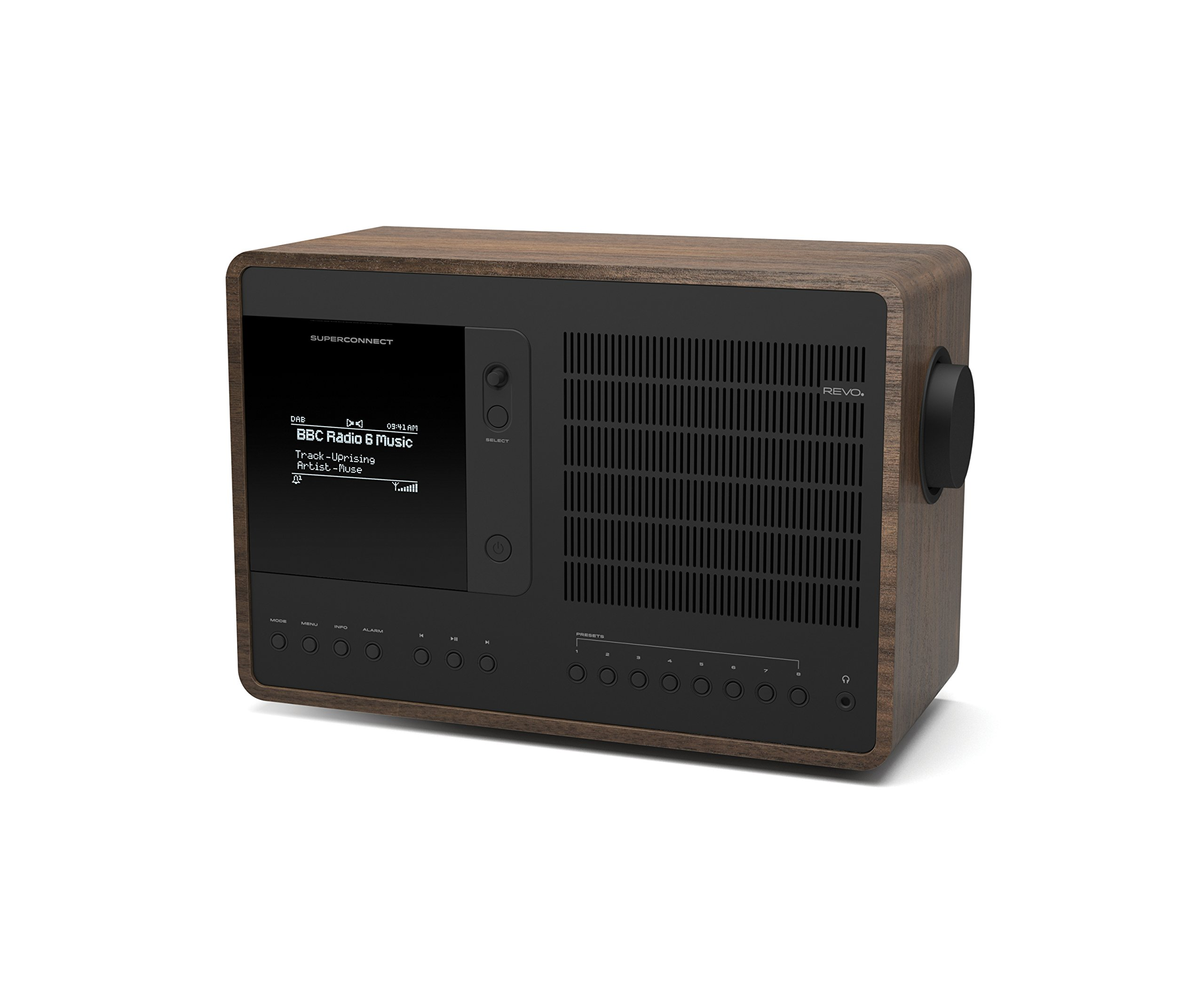 Revo SuperConnect Multi Format Deluxe Table Radio - Walnut/Black by Revo