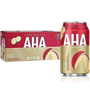 Aha Sparkling Water (Apple + Ginger), 12 Fl Oz (Pack Of 8)