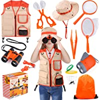Kids Explorer Kit, 11 Pcs Outdoor Exploration Kit with Binoculars, Costume Vest, Safari Hat, Bag, Hand-Crank Flashlight…