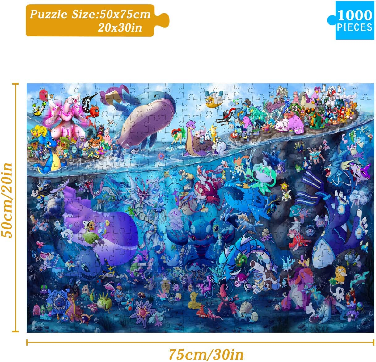 Anime Puzzles Pokemon Jigsaw Puzzle 1000 Piece Puzzles for Adults,Interactive Puzzles for Children,Comes with a high-Definition Poster