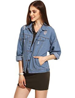 532fa937e3 SheIn Women's Casual Ripped Plain Button Down Denim Jacket at Amazon ...