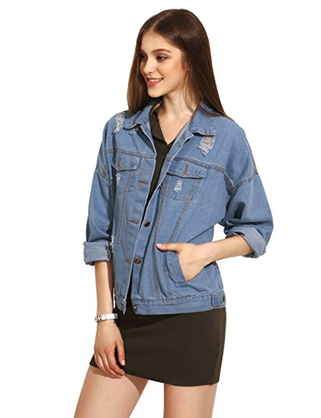 e84563b1da SheIn Women's Classic Long Sleeve Boyfriend Denim Jacket at Amazon ...