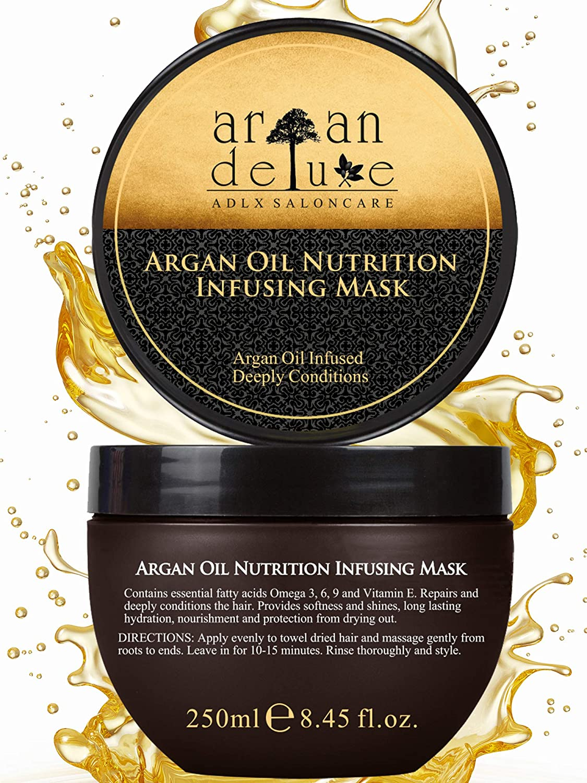 Mascarilla capilar Argan Deluxe con calidad de peluquería 250 ml - tratamiento capilar con aceite de argán para cuidado intensivo
