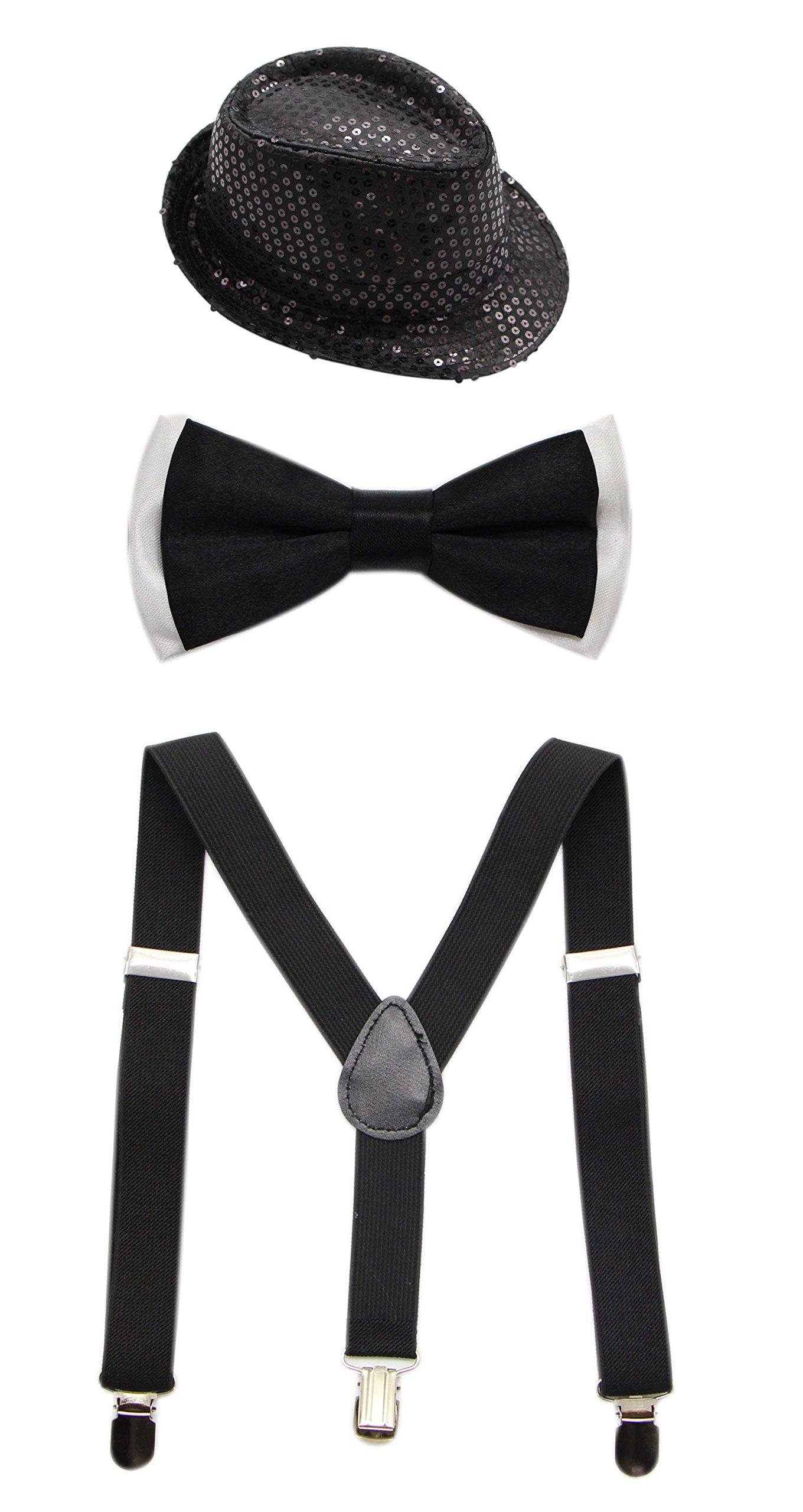 JAIFEI Boys Adjustable Suspenders With Pre-Tied Bow Tie & Paillette Fedora Hat (Black)