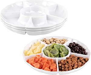IMPRESSIVE CREATIONS White Round Plastic Serving Tray – Heavyweight Disposable 6 Compartment Reusable Party Supply Tray– Durable and Reusable Party Tray – Perfect Dinnerware (3Pk)