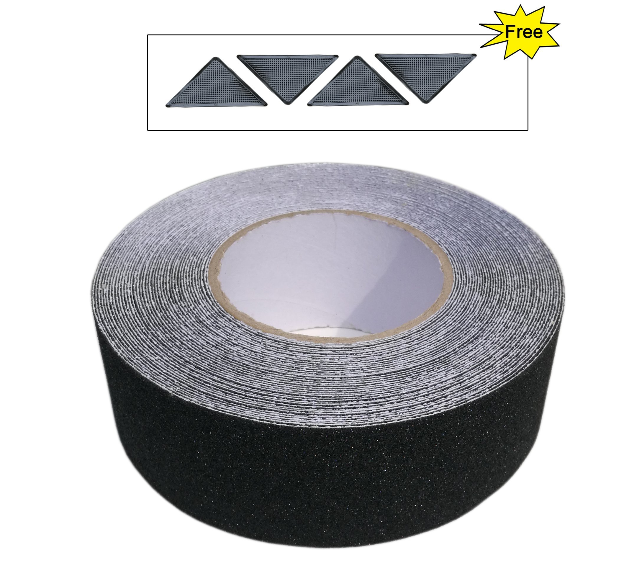 Anti Slip Tape, Non Skid Safety Walk Abrasive Adhesive Tape for Outdoor Indoor Stairs, Steps, Treads, Floors, Decking, High Traction Strong Grip, 2 Inch by 50 Feet with Free Rug Grippers, Black
