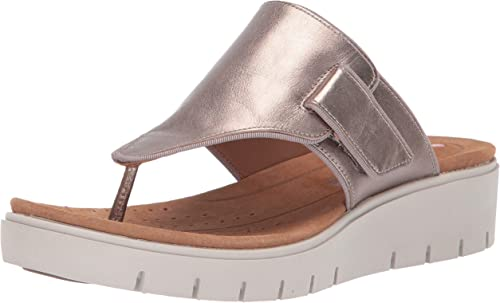 LADIES CLARKS UN KARELY SEA UNSTRUCTURED SLIP ON TOE POST LEATHER SUMMER SANDALS