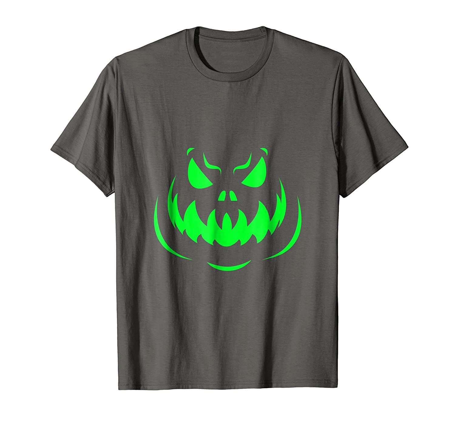 Scary Face Halloween Tshirt Dark Green-Rose
