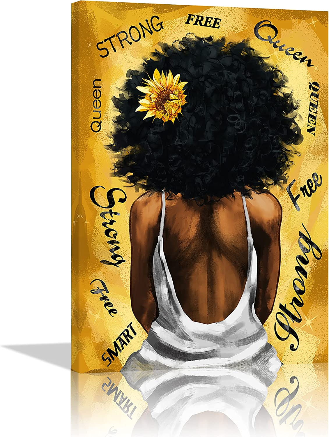 African American Wall Art Sunflower Black Woman Canvas Print Yellow Black Inspirational Painting Abstract Black Woman Art for Bedroom Bathroom Living Room Wall Decor Framed Ready to Hang - 12