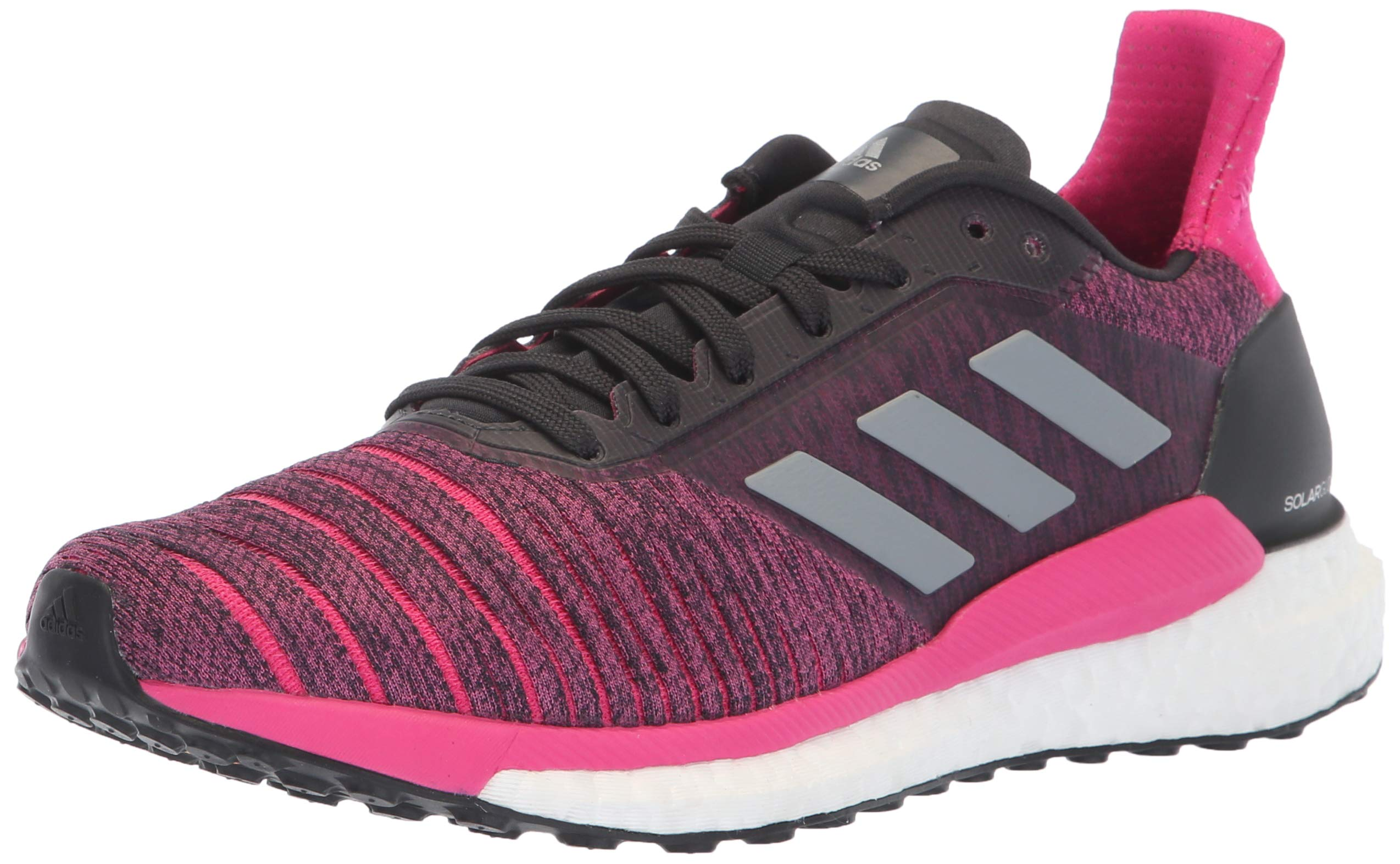 adidas Women's Solar Glide Running Shoe, Carbon/Grey/Real Magenta, 7 M US