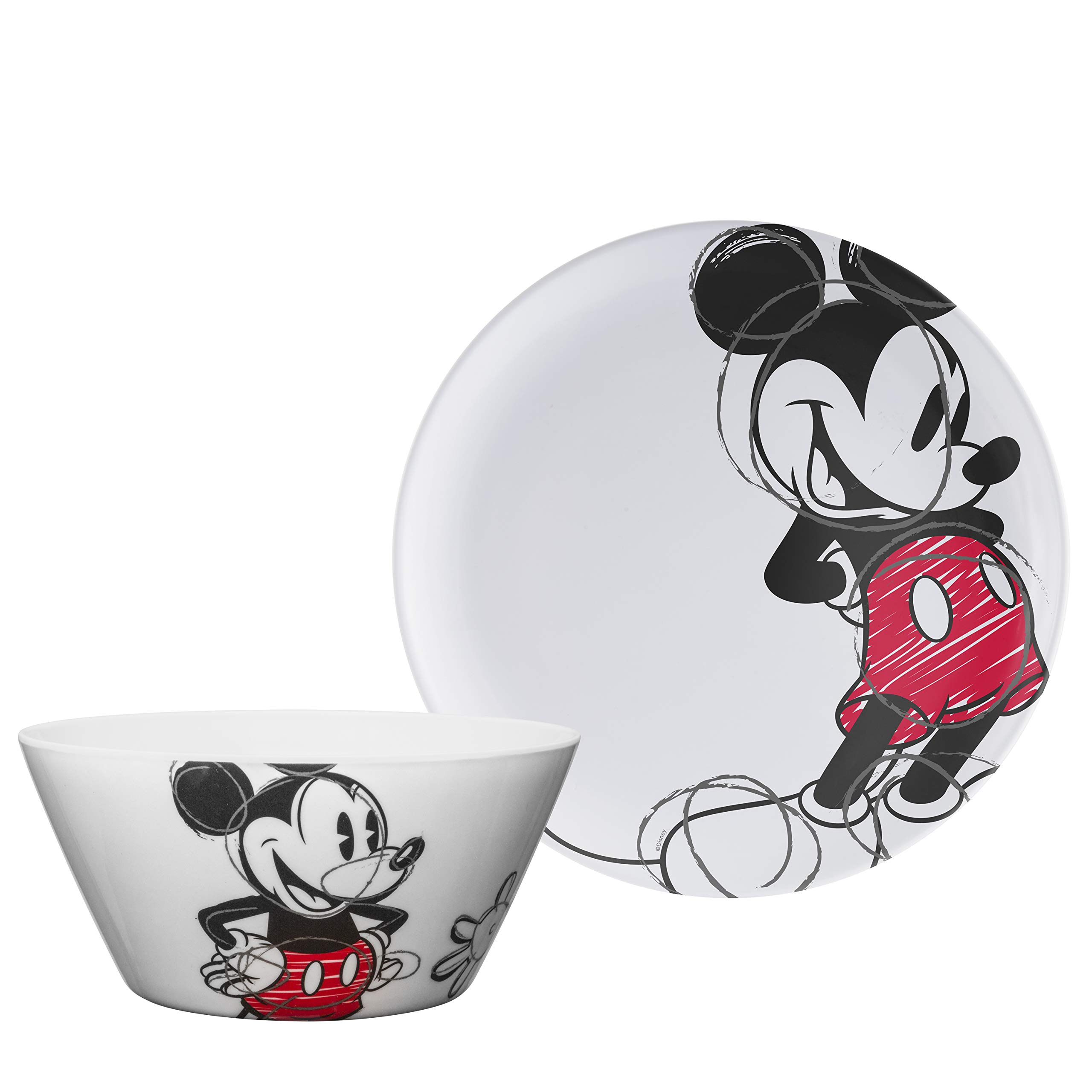 Zak Designs Disney Mickey Mouse - Kids Dinnerware Set, Including 10in Melamine Plate and 27oz Bowl Set, Durable and Break Resistant Plate and Bowl Makes Mealtime Fun (Melamine, BPA-Free) by Zak Designs