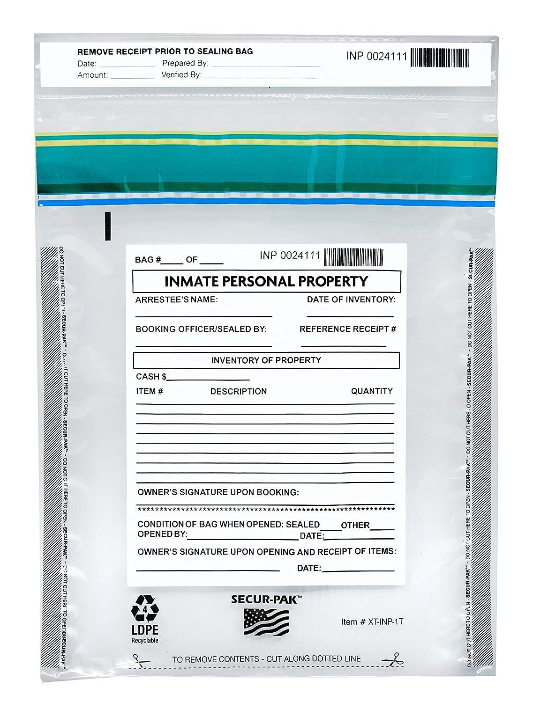9 x 12 100pk Inmate Personal Property Bags Transparent 2.5 Mil Coextruded Polyethylene Level 4 Security Tamper Evident Bags Premium SECUR-PAK Self Sealing