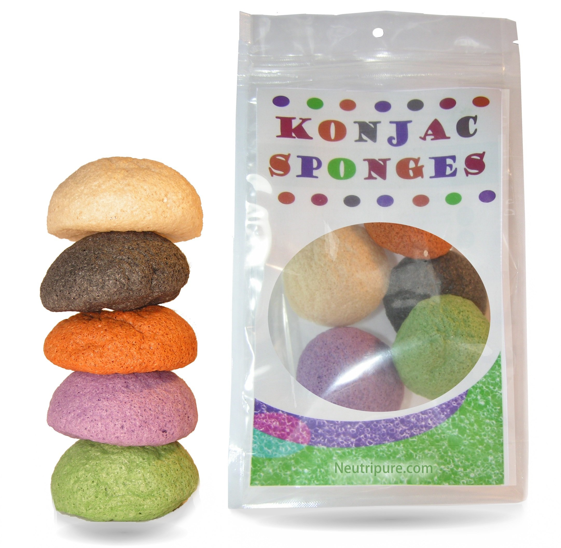 Konjac Sponge Set: Organic Skincare Facial for Natural Exfoliating and Deep Pore Cleansing 5 Piece Sampler Pack Infused with Charcoal, Turmeric, Green Tea by Konjac Lydia (Image #1)