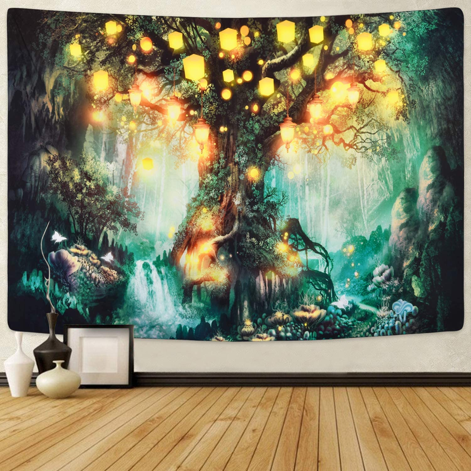 Sevenstars Forest Fairy Tales Tapestry Lantern Tapestry Waterfalls Under Tree of Life Tapestry Psychedelic Forest Tapestry Fantasy Wishing Tree Tapestries for Room (70.9ʺ x 92.5ʺ, Forest Fairy Tales)