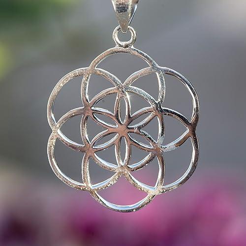 symbolic jewelry, Tribal pendant Seed of life Silver brass necklace Flower of life pendant Mandala pendant