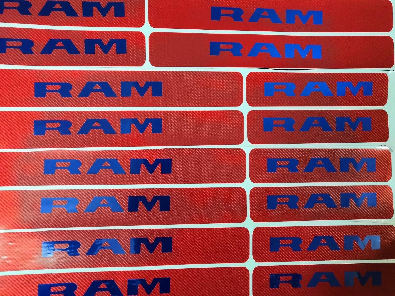 SENYAZON RAM Sticker Carbon Fibre Vinyl Reflective Car Door Sill Decoration Scuff Plate for Dodge RAM Accessories red/&White