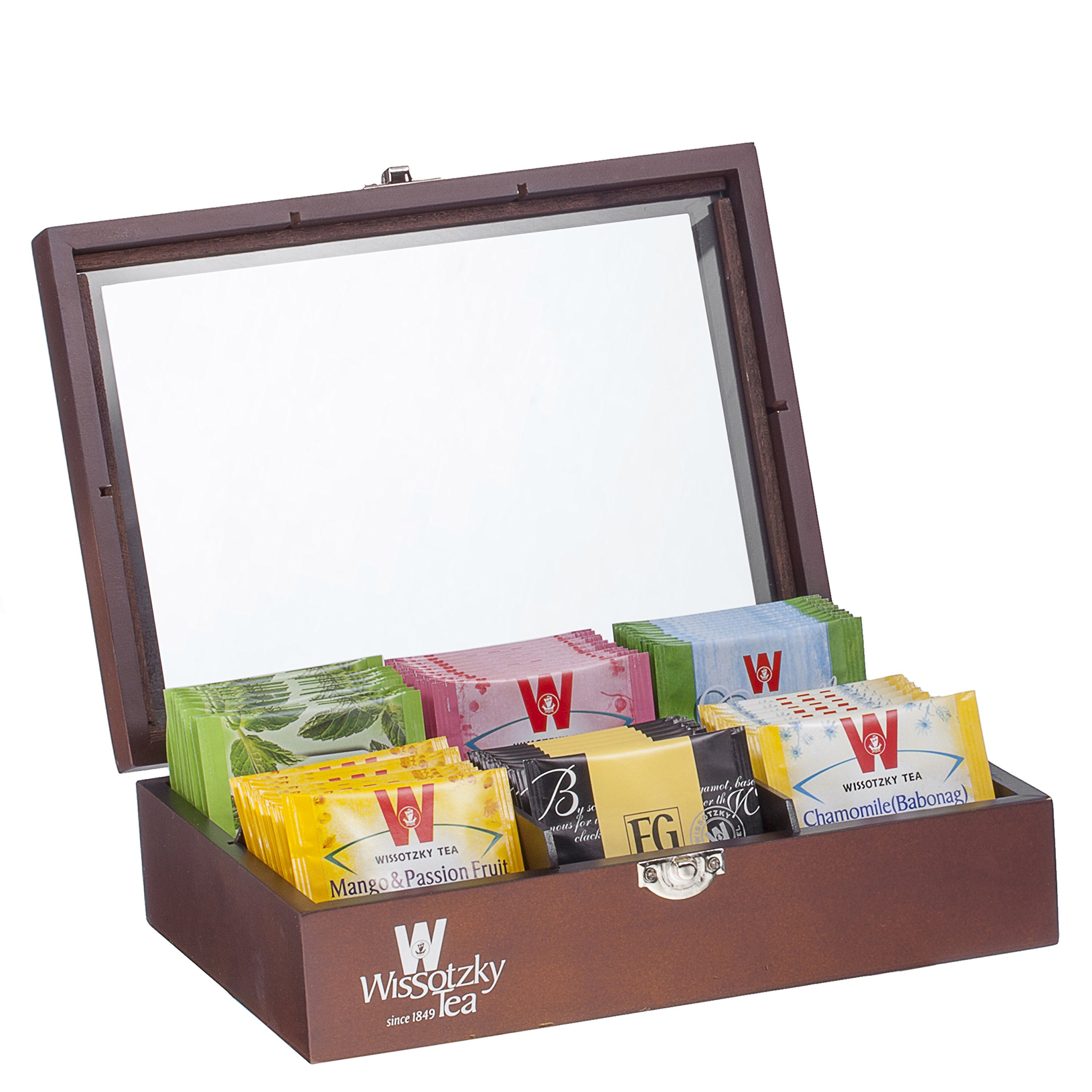 Wissotzky Tea 60 Dessert Flavored Teas in an Ebony Tea Chest - Flavors vary