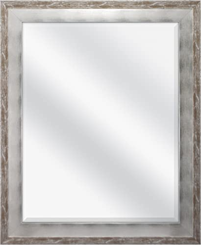 MCS 22×28 Inch Wall Mirror, 28×34 Inch Overall Size, Brushed Silver