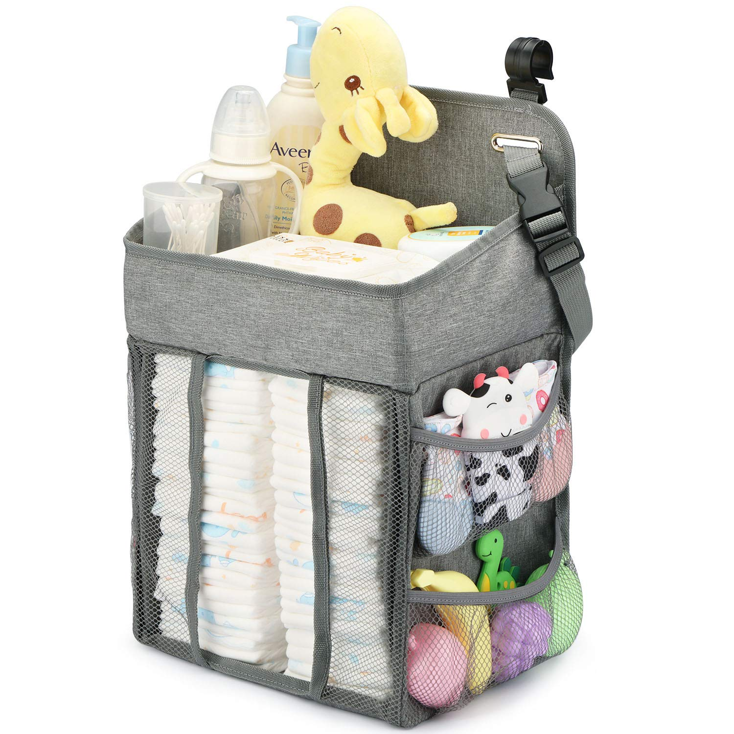 Changing Table Diaper Organizer Baby Hanging Diaper Stacker Nursery Caddy Organizer For Cribs Playard Baby Essentials Storage Gray Baby