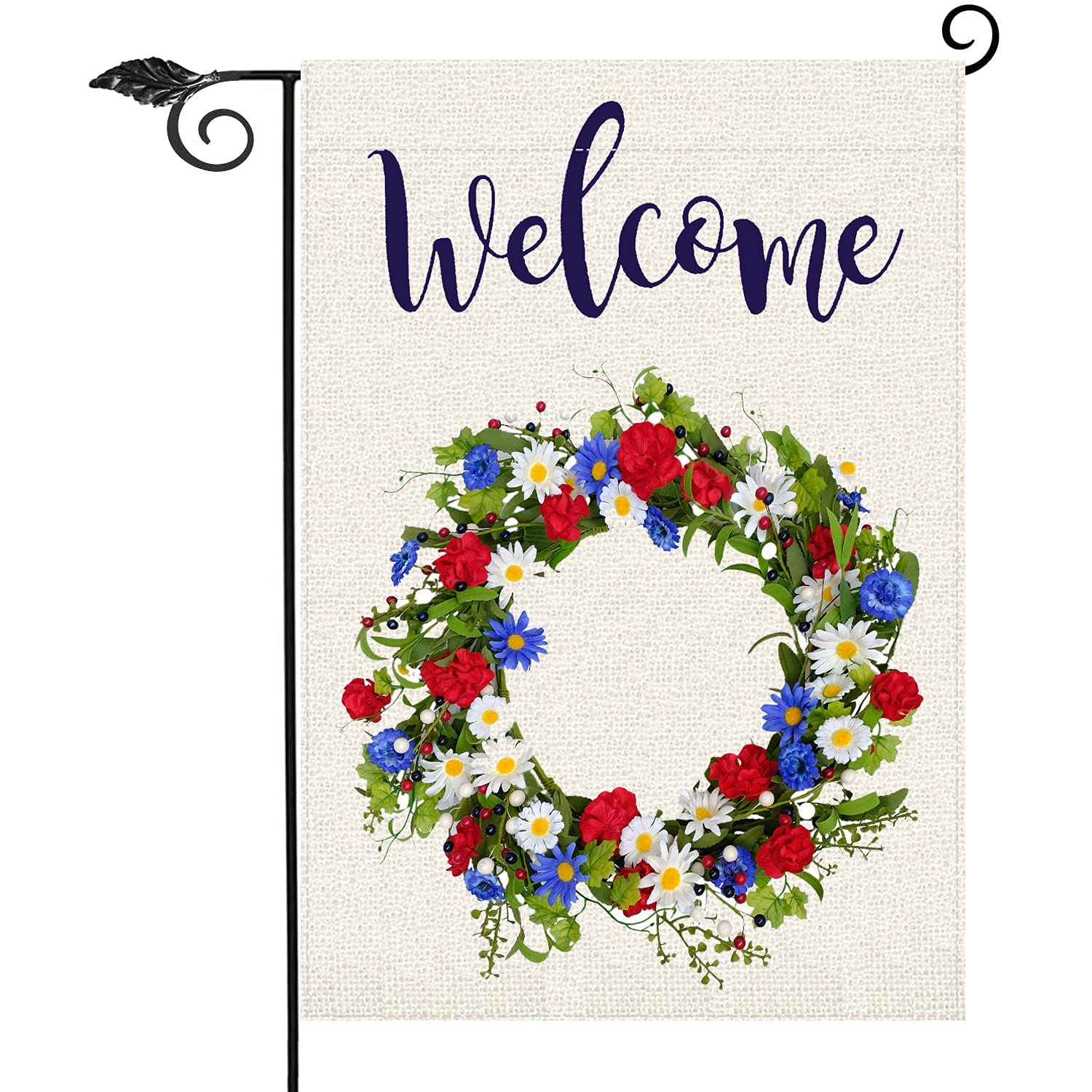 Red White Blue Patriotic Twig Wreath Garden Flag,4th of July Memorial Day Independence Day Burlap Yard Garden Outdoor Decoration 12.5 x 18 Inch