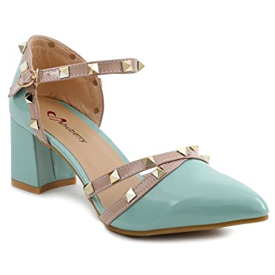 e73522a1c2f Shuberry SB-521 Green Colour Patent Heels  Buy Online at Low Prices in India  - Amazon.in