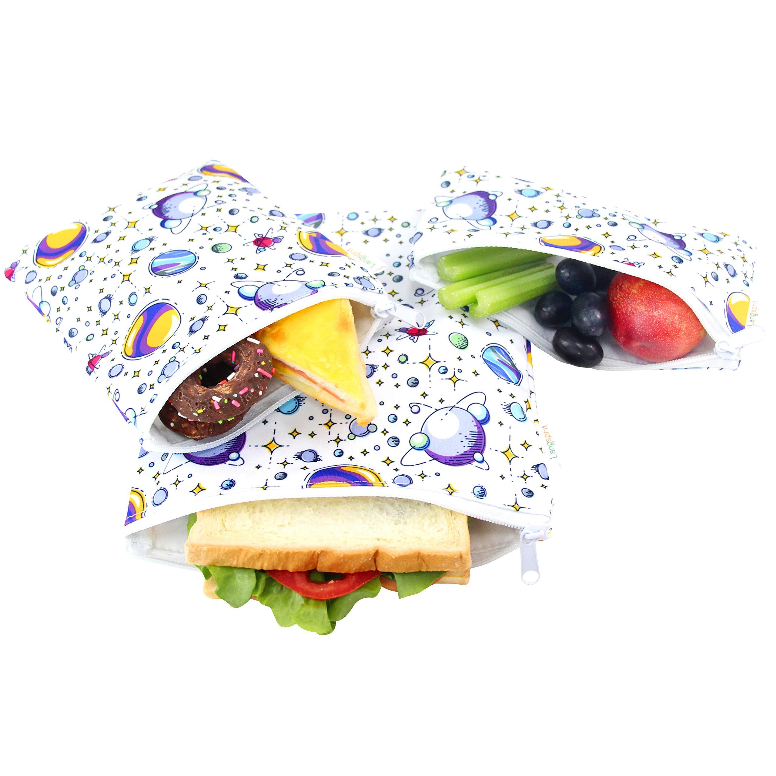 Langsprit Premium Reusable Sandwich & Snack Bags- Eco Friendly Dishwasher Safe Lunch Bags - Set of 3 - (Planet) by Langsprit
