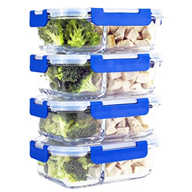 [IMPROVED LARGER 4 SET] 2 Compartment Glass Meal Prep Containers with Lifetime Lasting Snap Locking Lids Glass Food Containers BPA-Free, Microwave, Oven, Freezer and Dishwasher Safe (950 ML, 32 Oz.)