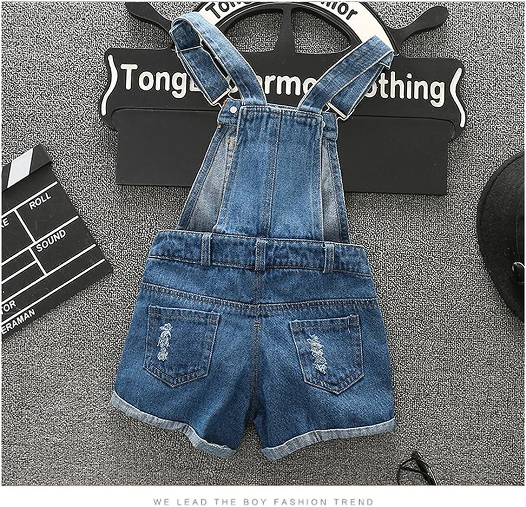 Kidscool Girls//Boys Big Bib Ripped Jeans Summer Shortall