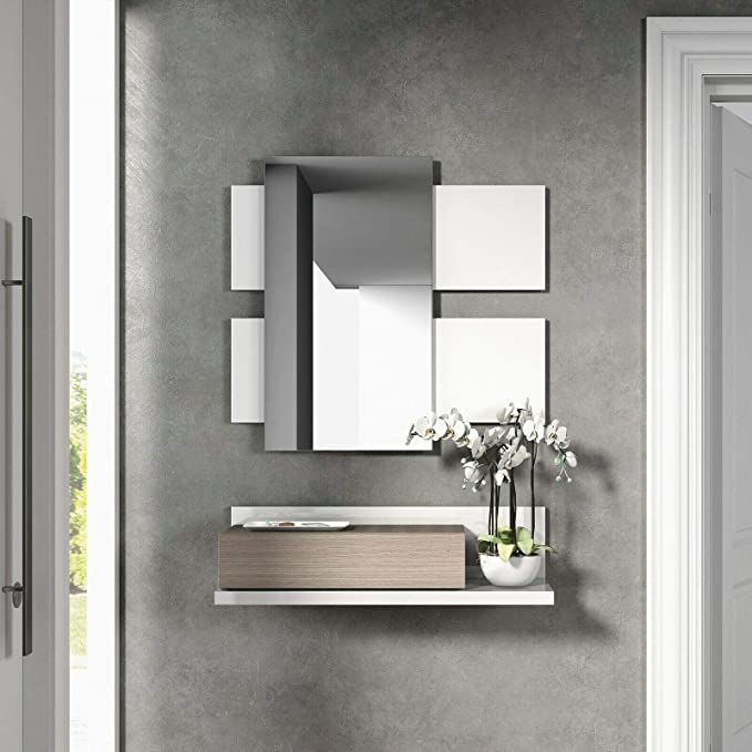 Habitdesign 0B6742BO - Recibidor con cajón + Espejo, Color Blanco Brillo y Fresno, Medidas: 75 x 116 x 29 cm de Fondo