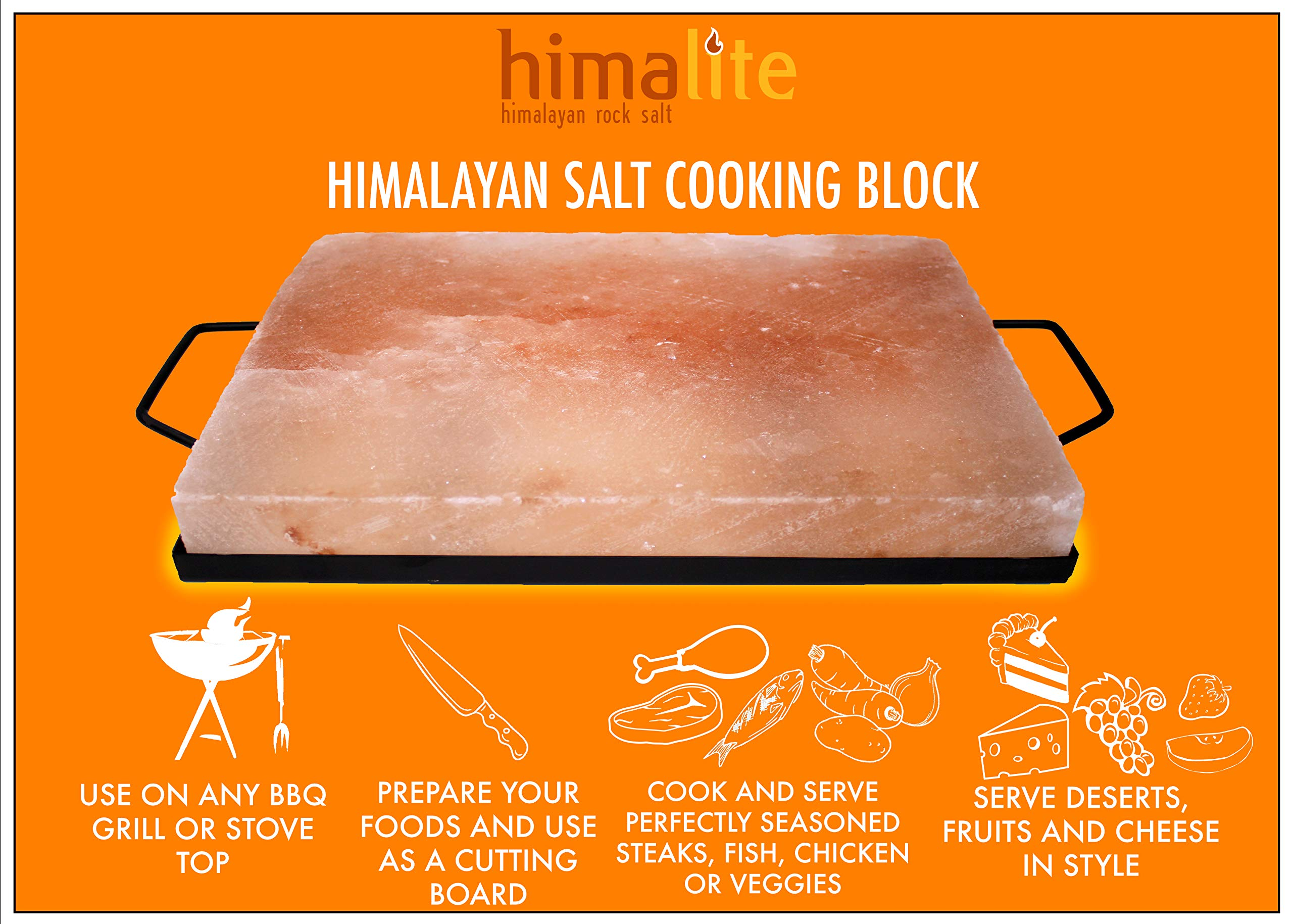 Himalite Himalayan Pink Salt Cooking Block and Tray Set 12'' x 8'' x 1.5'' for Cooking, Grilling, Cutting and Serving with Metal Tray Himalayan Rock Salt by Himalite (Image #6)