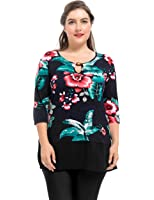 Chicwe Women's Stretch Plus Size Tunic Top With Neck Bead and Chiffon Hem 1X-4X