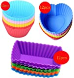 Cutequeen 36pcs (12pcs Heart-shaped;12pcs Rectangular and 12pcs Round) Silicone Baking Cups / Cupcake Liners - in Storage Container - Never Buy Paper Cups Again(pack of 36)