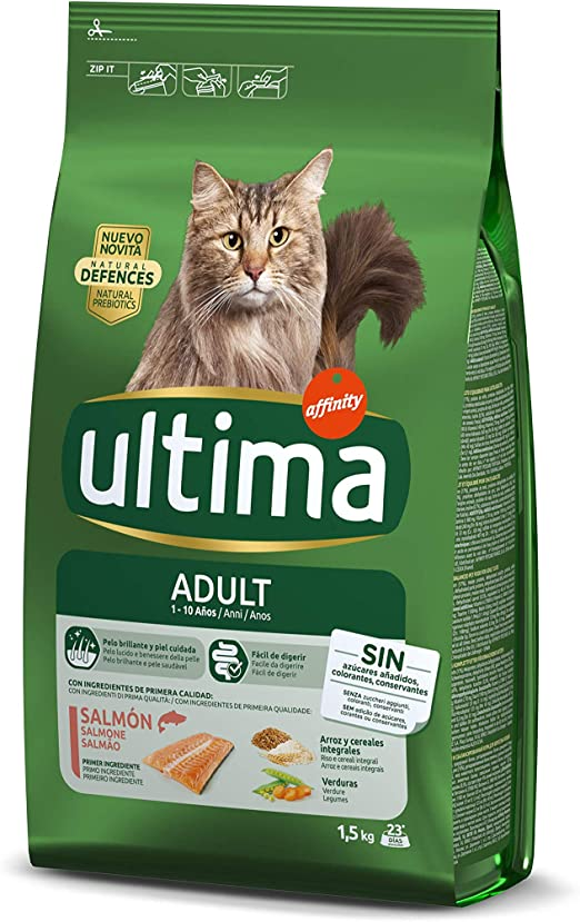 ultima Pienso para Gatos Adultos con Salmón - 1.5 kg: Amazon.es ...