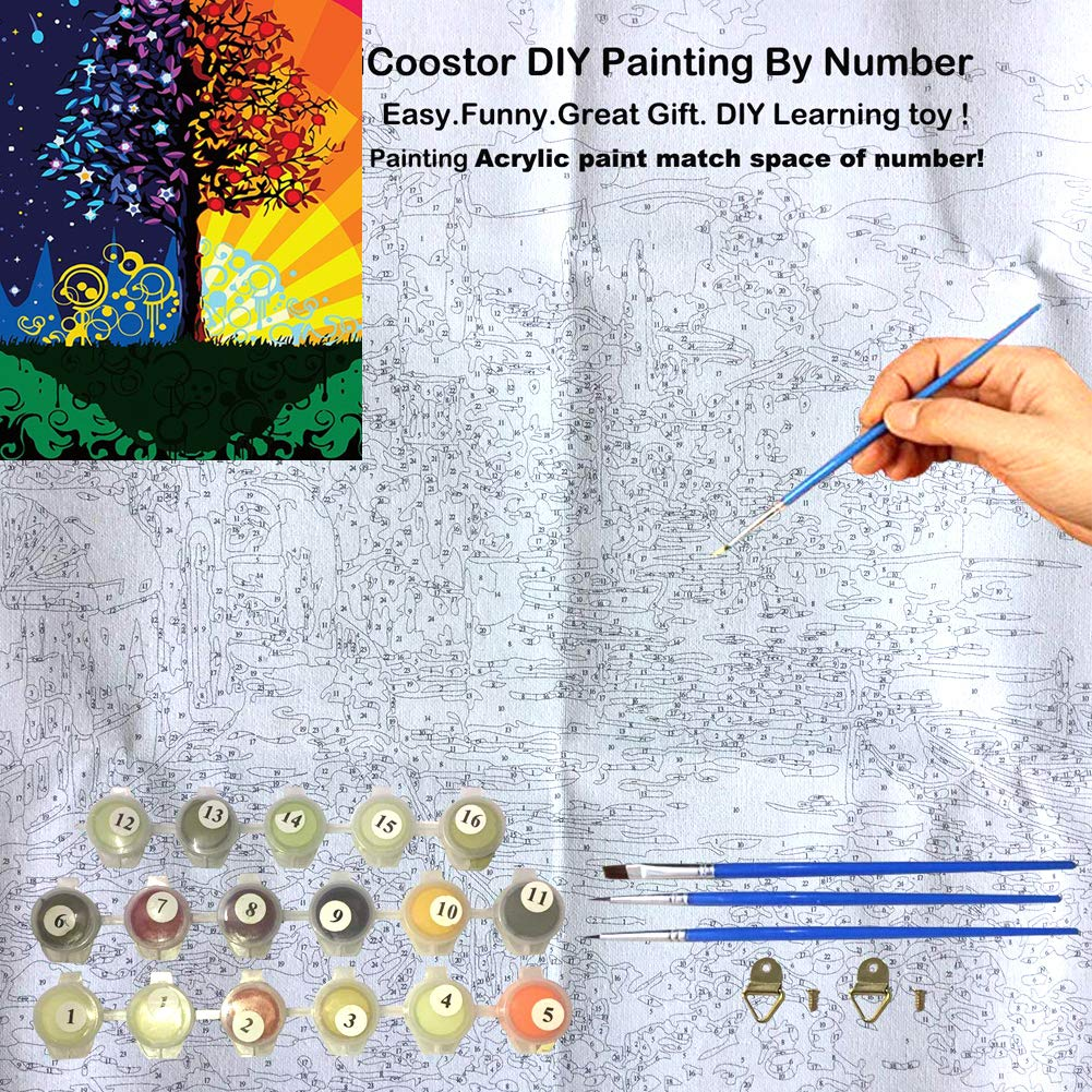 DIY Oil Painting Numbers Kit Acrylic Painting Kit for Kids and Adults Living Room Decorative Wall Painting Frameless 16x20 Inch (Rich Tree, 40 x 50 cm)