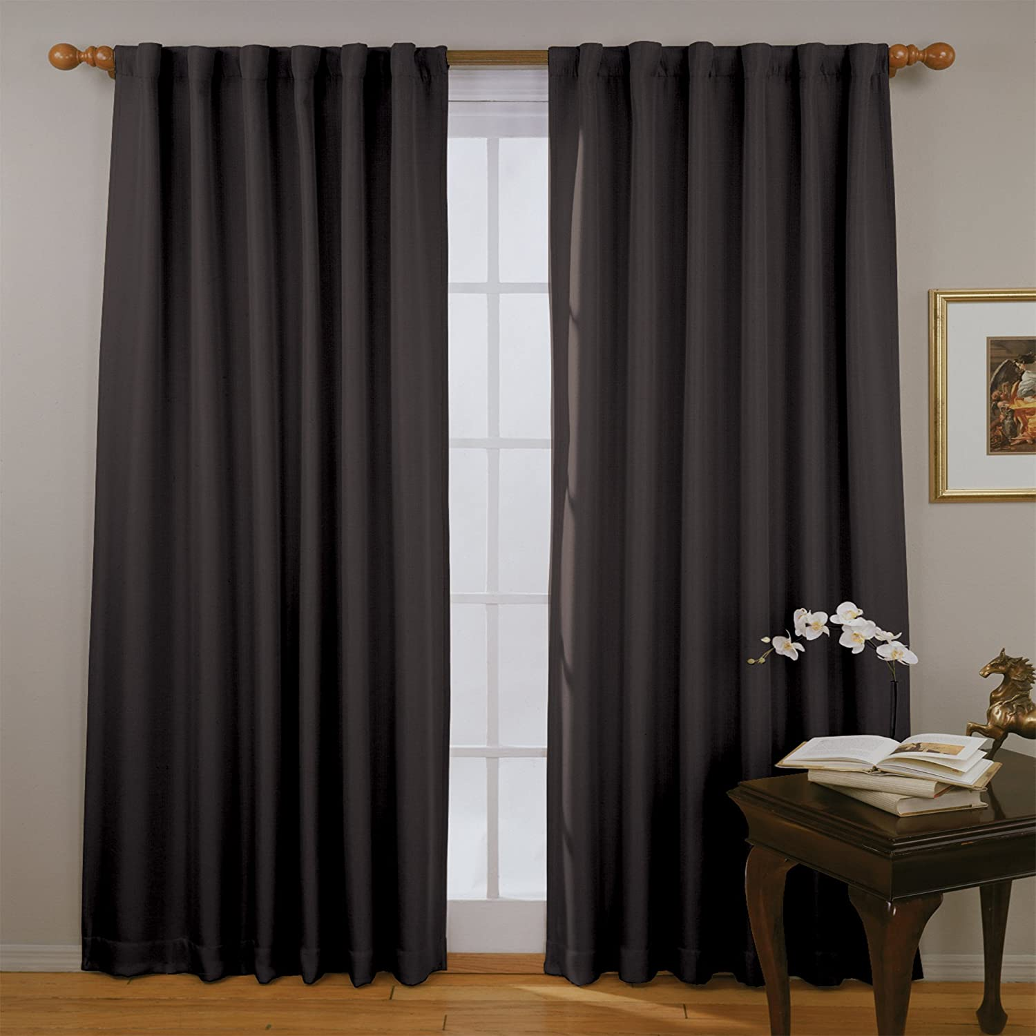 """ECLIPSE Fresno Thermal Insulated Single Panel Rod Pocket Darkening Curtains for Living Room, 52"""" x 108"""", Black"""
