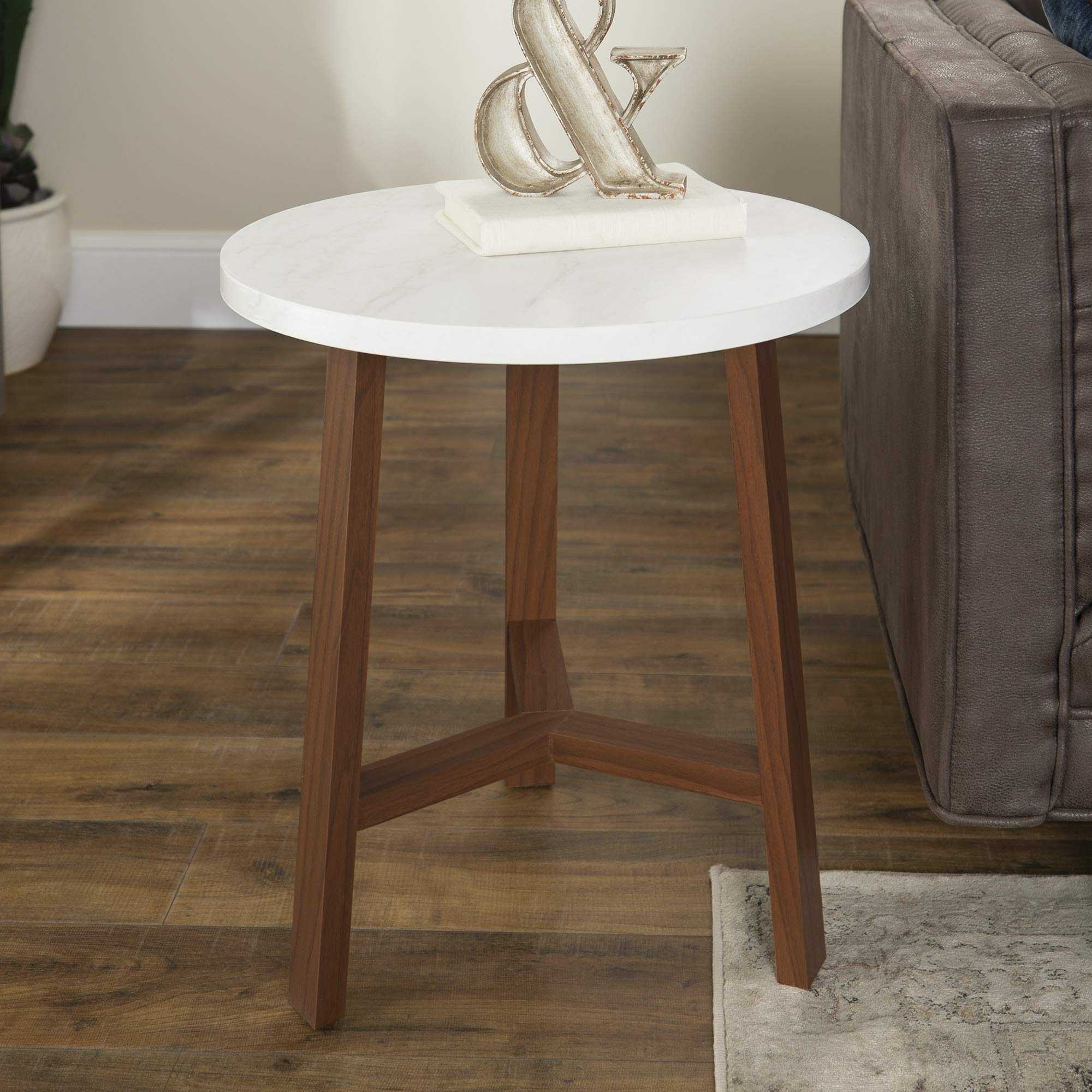 WE Furniture Mid-Century Modern Side End Table for Living Room, 20'', White Faux Marble with Acorn Base by WE Furniture